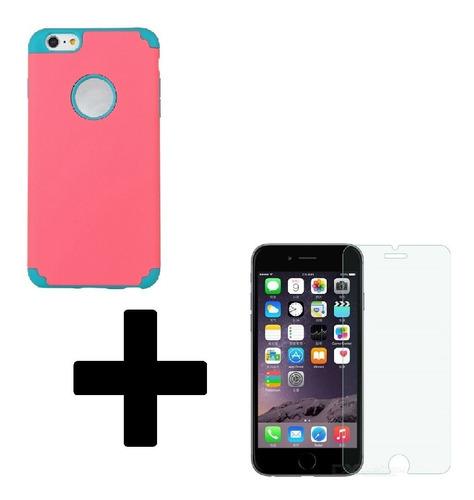 Protector 2 In 1 + Vidrio Templado iPhone 5 6 6p 7 7p