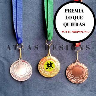 Medalla Deportiva + Cinta + Logo + Dome 50mm Personalizada