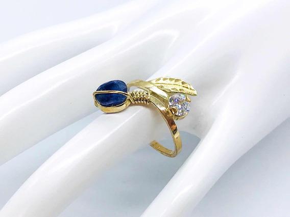 Precioso Anillo Para Dama Zafiro Blue Royal En Oro De 10 K
