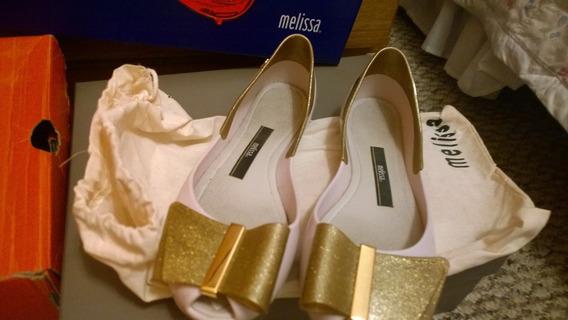 Melissa Sapatilha Creme Com Tope Dourado Glitter Tam 35