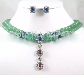 Colar Brinco Feminino Prata 925 Ouro Jade Naturais Verdes