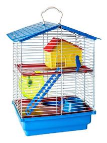Gaiola Hamster 2 Andares Completa. Comedouro Casinha Rodinha