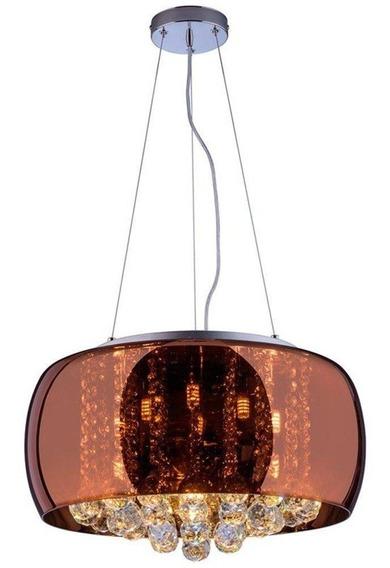 Lustre Pendente Sala Cristal K9 Cobre Attractive 50 Cm
