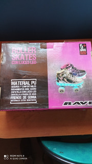 Patines Roller 4 Ruedas Talla 34 Plata Rave Con Luces Led