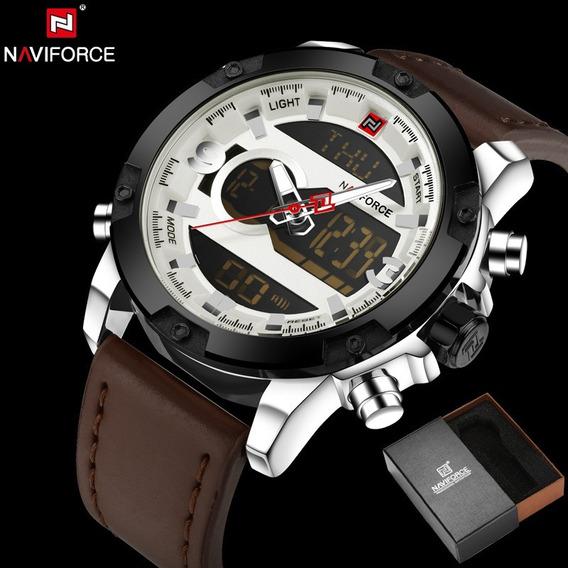 Relógio Masculino Naviforce Original Em Couro Multifuncional