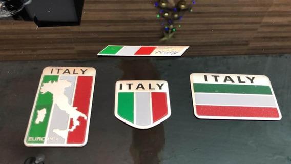 Liga Alumínio Metal Itália Bandeira Italiano 4x Adesivo 2vis