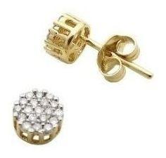 Imagem 1 de 4 de Brinco De Ouro 18k Chuveiro Redondo Diamantes Naturais U26