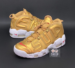 Tênis Nike Air More Uptempo X Supreme Suptempo Gold