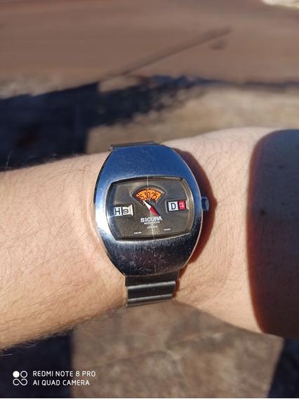 Relógio Sicura By Brietling Automático Modelo Jump Anos 70