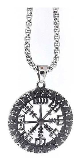 Corrente Cordão Runas Viking Vegvisir Runa Tribal Vikings