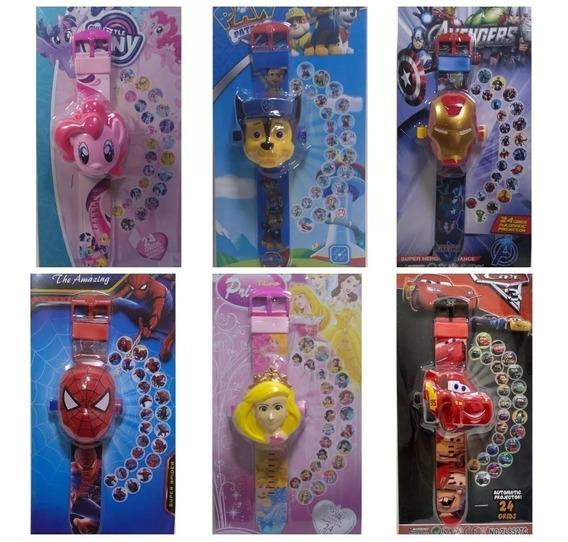 Kit Com 6 Relógio Infantil Projeta 24 Imagens Atacado