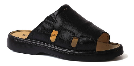 Chinelo Masculino 322 Em Couro Floater Preto Doctor Shoes