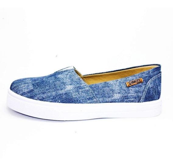 Tênis Slip On Quality Shoes Feminino 002 Jeans