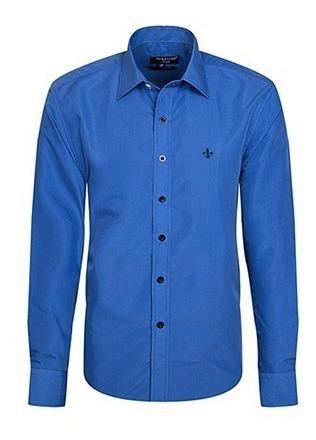 Camisa Social Masculina Azul Manga Longa Slim Fit