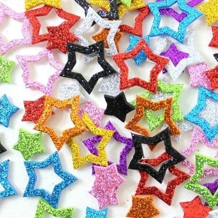 100 Piercings Adesivos E V A Pet Com Glitter Estrela