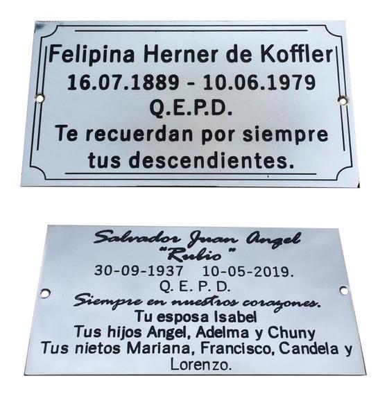 2 Placas De 20x10cm. Recordatoria, Para Cementerio. Oferta.