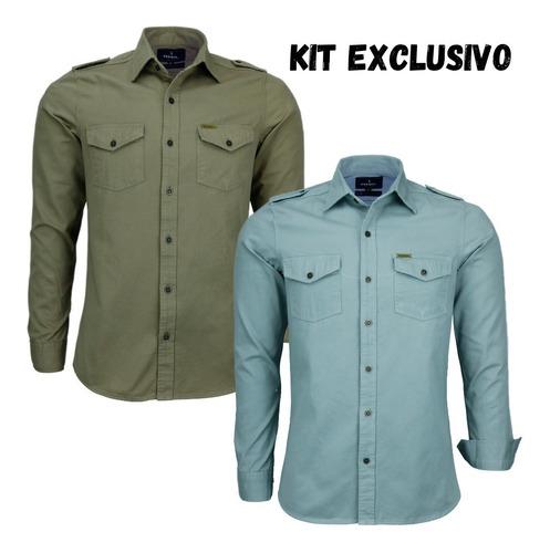 Imagem 1 de 3 de Kit 02 Camisas Masculina Slim Paris M Longa Estilo Militar