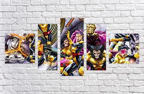 Quadro Decorativo X Men Desenho Quadrinhos Decorar 5 Peças 2