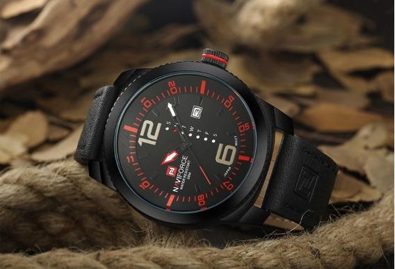 Relógio Masculino Naviforce 9063 Original Pulseira Couro