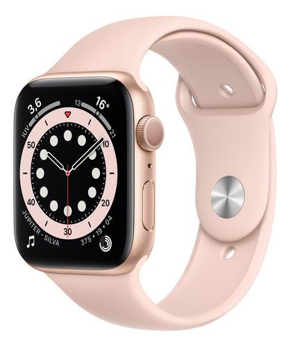 Imagem 1 de 8 de Apple Watch  Series 6 (GPS) - Caixa de alumínio dourado de 44 mm - Pulseira esportiva rosa-areia