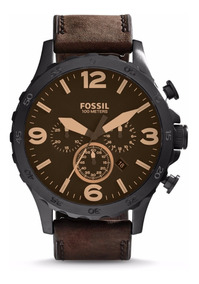 Reloj Fossil Jr1487 Nate Chronograph Brown Leather Hombre