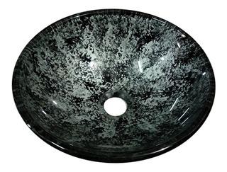 Bacha Apoyo Baño Vidrio Templado Negro / Plata 31 Cm
