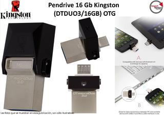 Pendrive 16 Gb Kingston (dtduo3/16gb) Otg