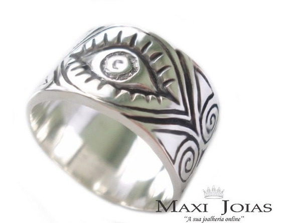 Anel Grande Olho De Hórus Prata Maciça 950