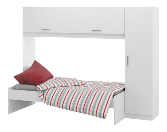 Guarda-roupa Com Cama Infantil 3 Portas 2650 Multimóveis - Branco