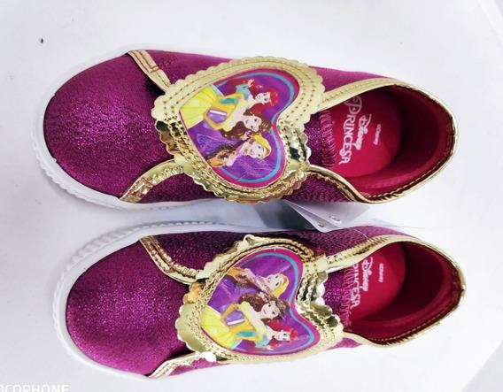 Tênis Infantil Menina Princesas Disney Diversão Rosa Cas 26