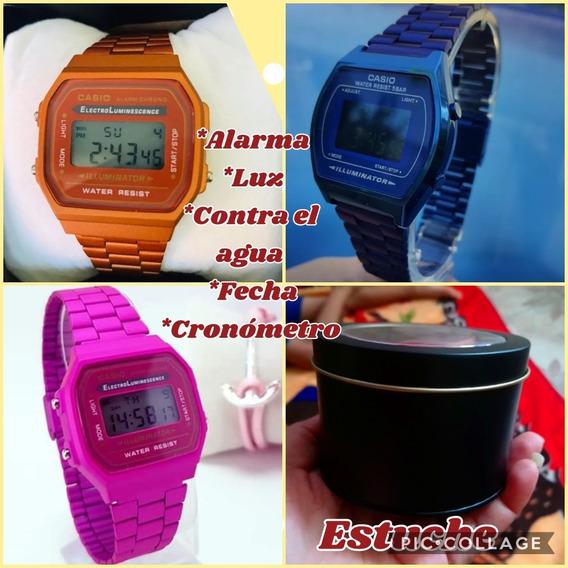 Reloj Tipo Casio Colores Fucsia, Cobre Y Azul