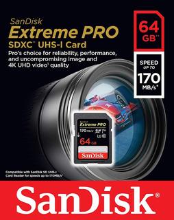 Cartão Sd Sandisk Extreme Pro 64gb 170mb Canon Dslr Nikon