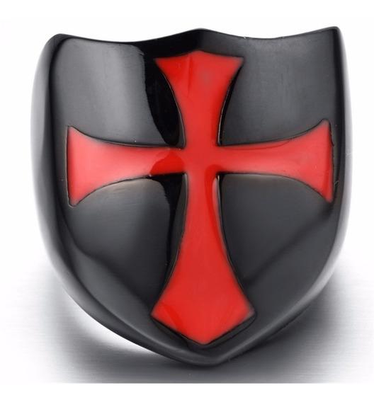 Anel Aço Inox Cavaleiro Medieval Templário Carro Moto Cruz