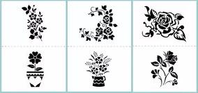 Stencil Molde Vazado Flores - 3 Folhas A4