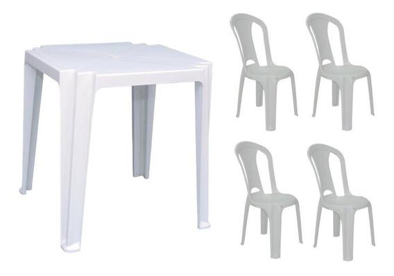 Mesa De Plastico Quadrada Truco Branca C/ 4 Cadeiras