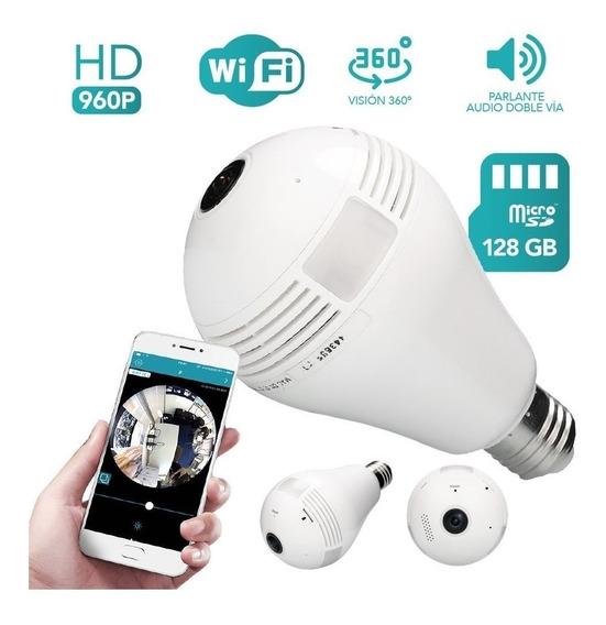 Foco Lampara Espia Led Camara Hd 360° Wifi Ip 128 Gb Sonido