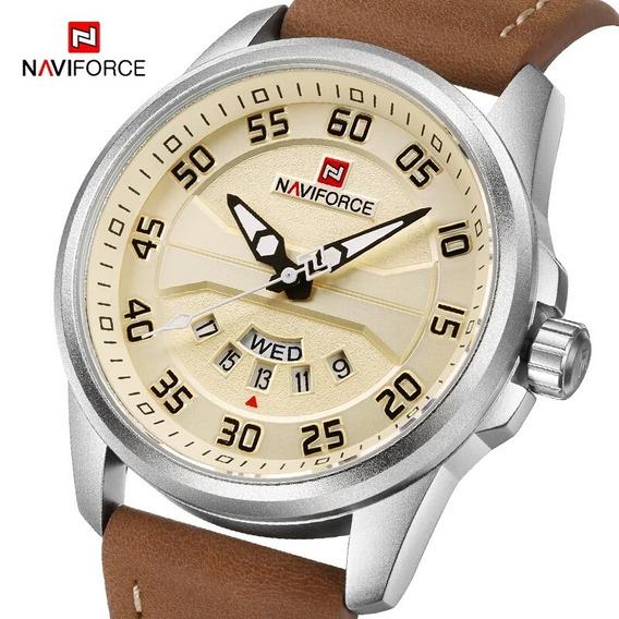 Relógio De Pulso Masculino Naviforce Original Couro Promoção