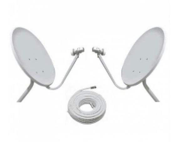 2 Antenas Ku 60cm Lnb Duplos + 40 Metro De Cabo Rg59 + Kit