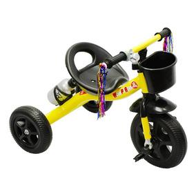 Triciclo Ferro Infantil Rodas Borracha, Garrafa - Amarelo.