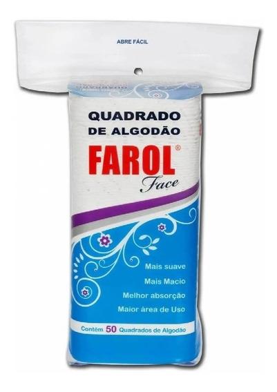 Kit 5 Pacotes Algodão Facial Face Hidrofilo Quadrado Farol