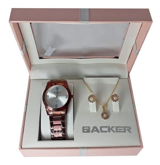 Kit Relógio Backer Feminino Marrom + Semi Joia Ba120120044f