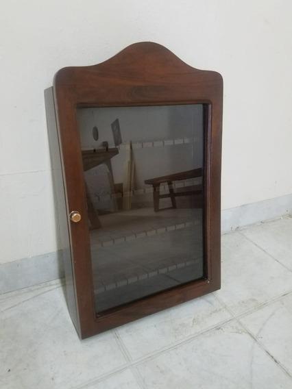 Porta Cucharas Colección, Madera De Caoba Con Puerta Cristal