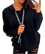 Aunimeifly Ladies Sweatshirt Hooded Pullover Women Solid Col