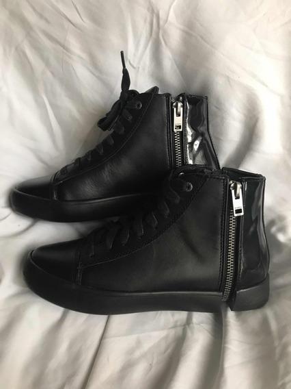 Zapatillas Diesel Cuero Negro Mujer 36 Botita Originales