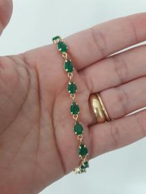 Pulseira 15 Microns Ouro 18k Pedras Esmeraldas Fusion