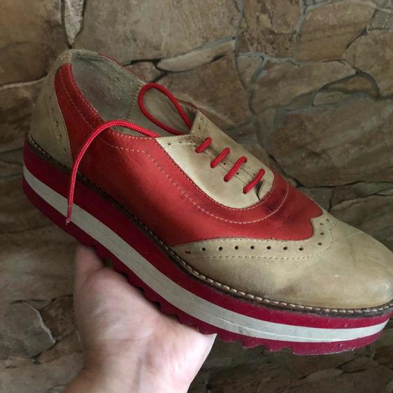 Zapatos De Cuero Tipo Creepers Marca Lannot Talle 40