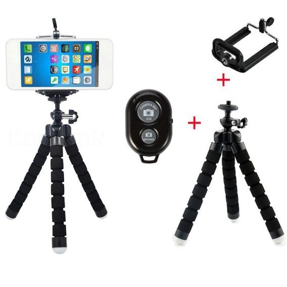 Mini Tripé Com Obturador Remoto Flexível Fotógrafo Camera