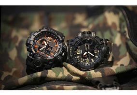 Relógio Smael Orange Militar Camuflado Prova Dágua Preto Lar