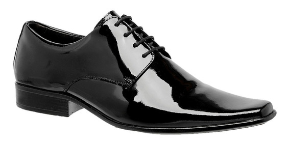 Sapato Social Masculino Clássico Verniz Amarrar Gofer