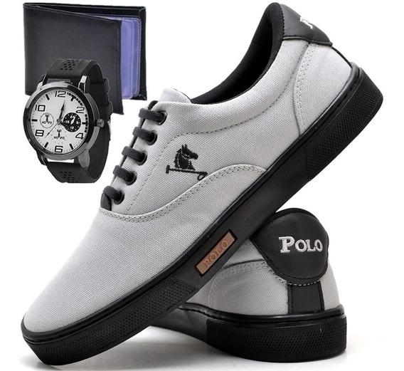 Tenis Masculino Polo Joy Sapato Sapatenis Relógio E Carteira